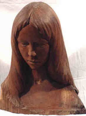 Gaetano Cherubini: 'head girl', 1983 Wood Sculpture, Portrait. Artist Description:   cherry wood sculpture ...