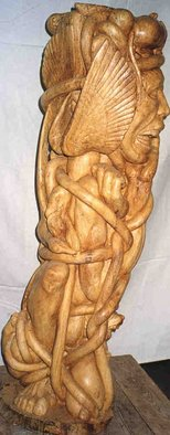 Gaetano Cherubini: 'man tied with animals', 1998 Wood Sculpture, nudes.   sculpture in fig wood  ...