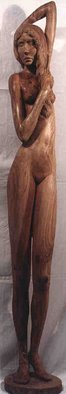 Gaetano Cherubini: 'nude with comb', 1985 Wood Sculpture, nudes.  sculpture in elm wood       ...