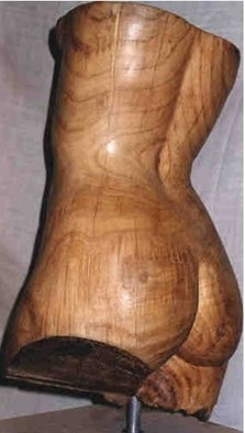 Gaetano Cherubini: 'woman s bust', 1991 Wood Sculpture, Nudes. Artist Description:  sculpture in chestnut wood and travertine basis...