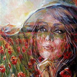 No Street Address Carolina: 'Field of poppies', 2013 Oil Painting, Figurative. Artist Description:  woman, poppies, elegant, landscape, oil on paintings. ...