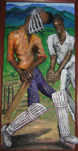 Pegasus Gallery  'Cricketers', created in 1997, Original Bas Relief.