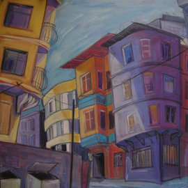 Gamze Olgun: 'untitled', 2008 Oil Painting, Cityscape. Artist Description:   expressionism, contemporaray art, modern art, cityscape, abstractlandscape, beyodlu, gamze olgun, istanbul, street, color,  ...