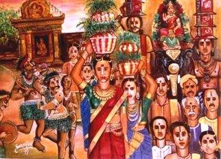 V V Swamy: 'PROCESSION', 2000 Oil Painting, Religious.  Bonalu is a religious fetival in rural india where people celebrate with gaiety  ...