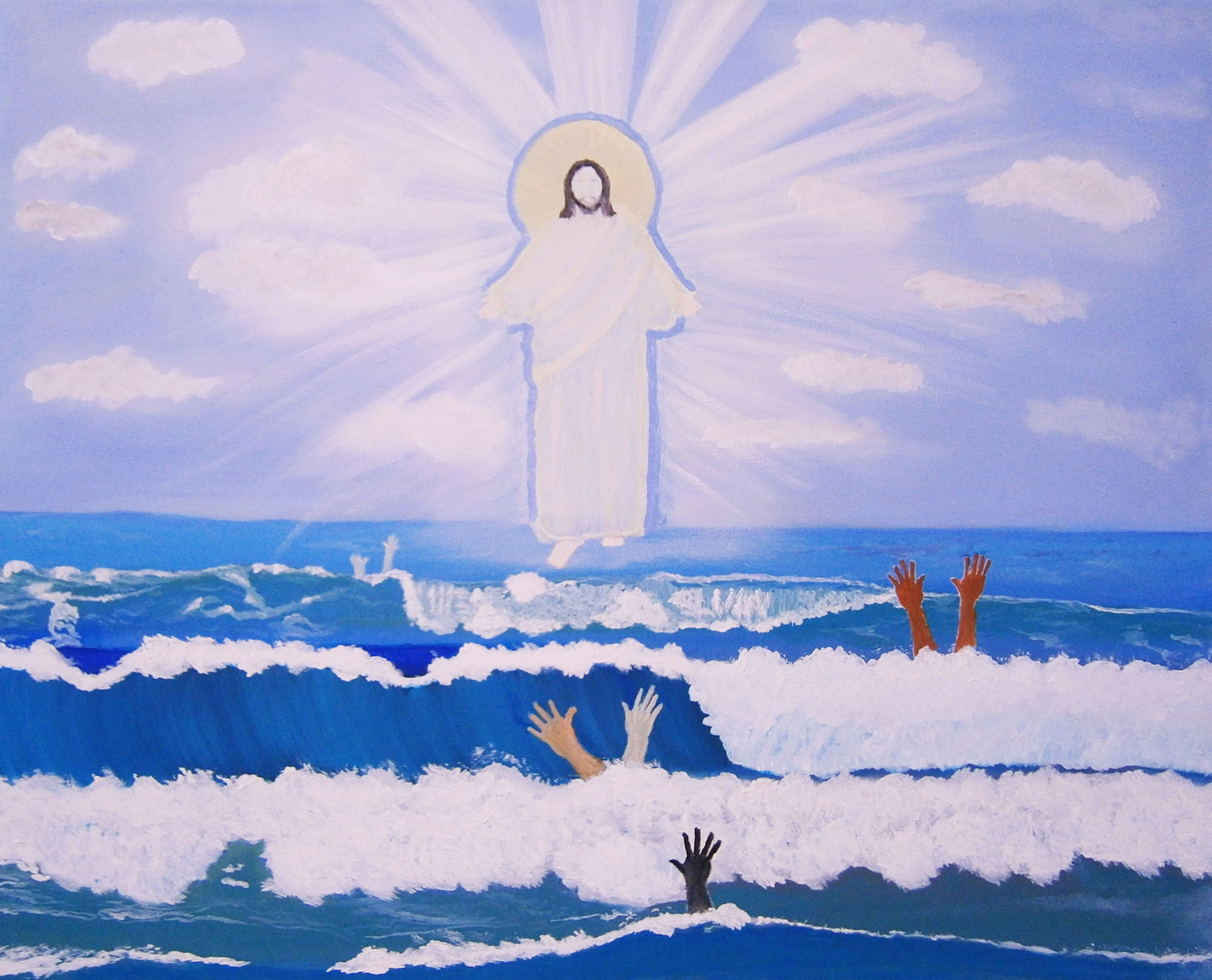 Ganga Sajith: 'jesus beyond race', 2017 Oil Painting, Christian. Artist Description: - GOD BEYOND RACE- ONE OF A KIND ORIGINAL- OIL PAINTING ON STRETCHED CANVAS- CERTIFICATE OF AUTHENTICITY INCLUDED- SIDES ARE PAINTED BLUEBlack, Brown or White. The truth has no color. One of a kind original oil painting of Jesus Christ walking on water. Original signed artwork. ...