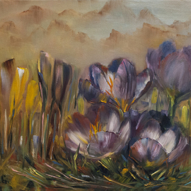 Anastasia Gardiner: 'Crocus', 2014 Oil Painting, Floral. Artist Description: Oil on stretched cotton canvas, framed, 33 x 24 cm. The price of painting includes frame.  Recently, I created a series of crocus paintings. Background mountain tips were inspired by Japanese traditional art and a bit of philosophy. Small and fragile things can win over big and robust; ...