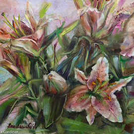 Anastasia Gardiner: 'Lilies', 2014 Oil Painting, Floral. Artist Description:    Oil on board. This painting is not framed. More paintings at www. anastasiagardinerart. comThank you for looking!  ...