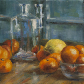 Anastasia Gardiner: 'Orange day', 2014 Oil Painting, Still Life. Artist Description: Oil on stretched cotton canvas, 33 x 24 cm. This painting is not framed. I love eating and painting citruses: lemons, oranges, clementines. They are such bright happy things!  It was painted mostly with pallet knife to accentuate colour rather then detail.           To discover more paintings, please, visit ...