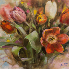 Anastasia Gardiner: 'Tulips', 2014 Oil Painting, Floral. Artist Description:   Oil on board. This painting is not framed. More paintings at www. anastasiagardinerart. comThank you for looking! ...