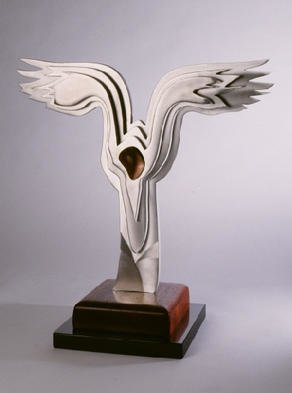 Gary Brown: 'Soft Landing', 2001 Aluminum Sculpture, Abstract. Soft Landing is made from Aluminum, Tropical Walnut, Paduk on a black marble base This is one of a kind. ...