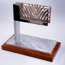 Gary Brown: 'Zebra', 2004 Aluminum Sculpture, Abstract. Artist Description:  Aluminum, Copper, with Bubinga wood base  ...