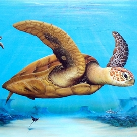 Gary Boswell: 'sea turtles over reef', 2019 Acrylic Painting, Sea Life. Artist Description: Sea Turtles over Reef inspired by diving off the Florida coast. ...