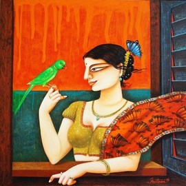 Gautam Mukherjee: 'Charulaata', 2016 Acrylic Painting, Figurative. Artist Description:  0140 couple ...