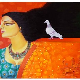 Gautam Mukherjee: 'bonolaata', 2017 Acrylic Painting, Figurative. Artist Description: Poetry by Jibanananda Das ...
