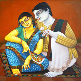 Gautam Mukherjee: 'couple', 2016 Acrylic Painting, Figurative. Artist Description:            0140   couple       ...