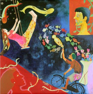 Artist: Gayatri Artist - Title: farmer couples in love - Medium: Acrylic Painting - Year: 2010
