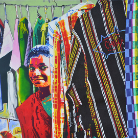Gayatri Artist: 'some one from some where', 2011 Acrylic Painting, Portrait. Artist Description:  Gayatri Artist, the life of street vendors who have no expectations in life.  ...