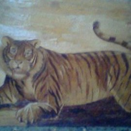 Gaya Wijaya Artwork Unique painting Sumatran tiger, 1999 Mixed Media, Animals