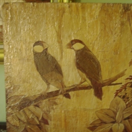 Unique Painting A Pair Of Birds, Gaya Wijaya