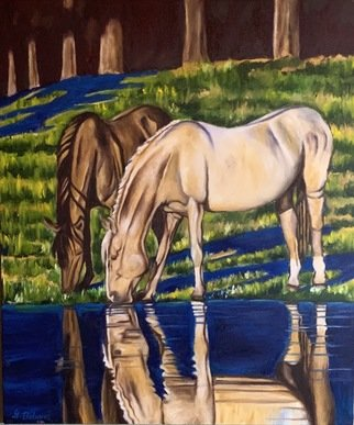Gerardo Bolanos: 'bareback beauties', 2019 Oil Painting, Farm. I love painting horses and their reflections in the water. ...
