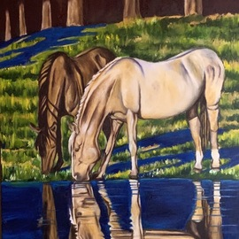 Gerardo Bolanos: 'bareback beauties', 2019 Oil Painting, Farm. Artist Description: I love painting horses and their reflections in the water. ...