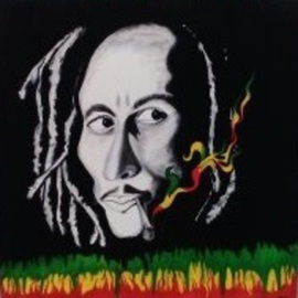 Geary Jones: 'BOB AND HIS JOINT', 2016 Acrylic Painting, Portrait. Artist Description:   BOB MARLEY             ...