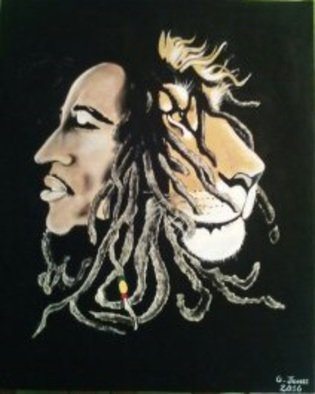 Geary Jones: 'BOB AND THE LION ', 2016 Acrylic Painting, Other.  BOB MARLEY            ...