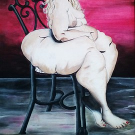 Geary Jones: 'Nude Obese Lady', 2015 Acrylic Painting, nudes. Artist Description:  Nude painting ...