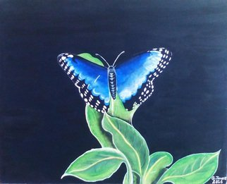 Geary Jones Artwork THE BLUE BUTTERFLY , 2016 Acrylic Painting, Botanical
