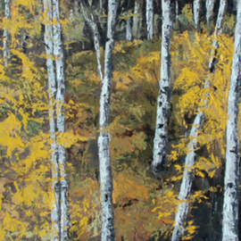 Gisella Trucco Artwork Birch Forrest, 2008 Oil Painting, Landscape