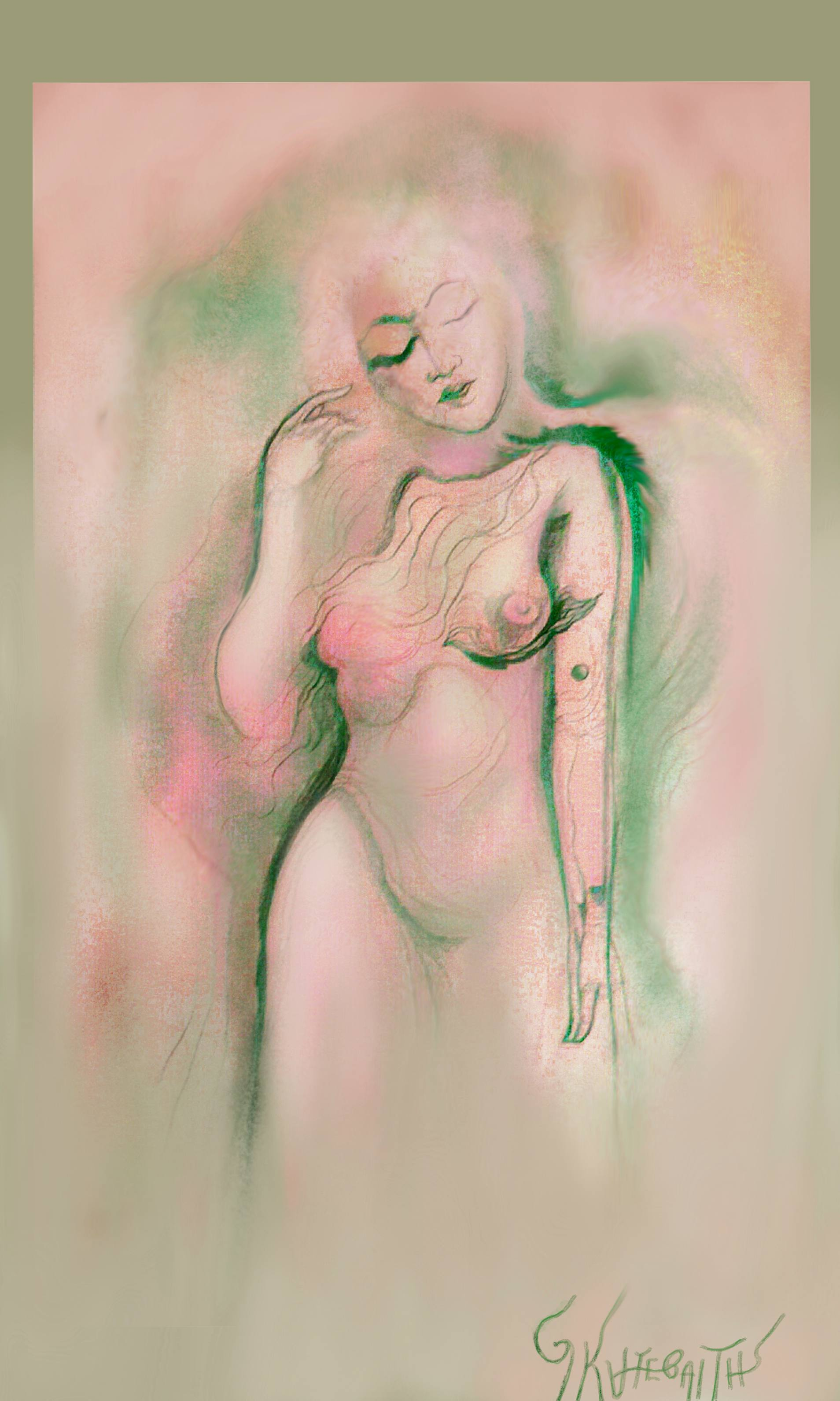 Acrylic Painting by George Katevenis titled: MEDITATION 770, created in 1996