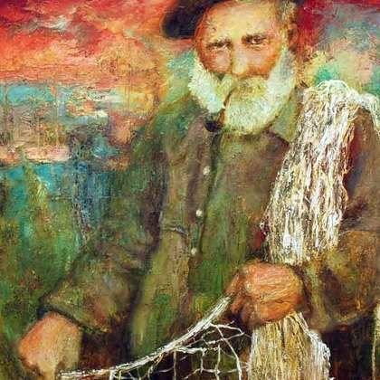 , Old Fisherman, Sea Life, Sold