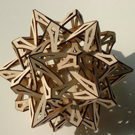 George Hart: 'Compass Points', 2003 Wood Sculpture, Geometric. Artist Description:  It is hard to convey the sense of motion which this sculpture creates as it bursts out in all directions. Compass Points is a 14- inch diameter one- of- a- kind sculpture assembled from identical pieces of laser- cut wood ( solid aspen) . From a distance, it is suggestive ...