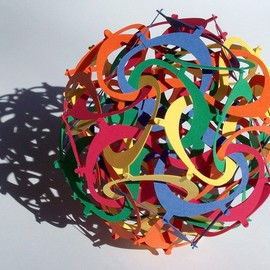 George Hart: 'Eights', 2007 Other Sculpture, Geometric. Artist Description:  This six- inch diameter paper sculpture is made of sixty identically shaped parts. Parts of any one color form a type of tetrahedron, and there are five such, deeply interlocked. No glue or other adhesive is used; the parts just hook into each other. I call this type ...
