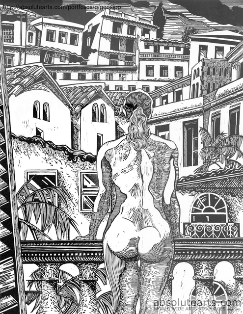 Geo Sipp  'A Woman On A Balcony In Algiers', created in 2013, Original Printmaking Linoleum.