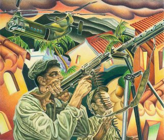 Geo Sipp: 'Algerian Firefight', 2011 Other Drawing, Military. Artist Description:   Algerian Firefight is a color pencil drawing on Arches Antique White paper, illustrating a scene from a graphic novel about the French- Algerian War, entitled Wolves in the City, which I am currently illustrating.          ...