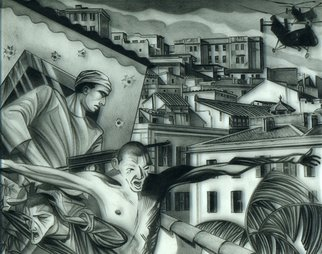 Geo Sipp: 'Choppers Over Algiers', 2011 Other Drawing, Military. Artist Description:  Choppers Over Algiers is a drawing on grained glass, illustrating a scene from a graphic novel about the French- Algerian War, entitled Wolves in the City, which I am currently illustrating.           ...