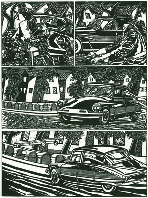 Geo Sipp: 'Citroen', 2012 Woodcut, Automotive.  Citroen is a woodcut, illustrating a scene of Algiers during the French- Algerian War. The image is part of a graphic novel entitled Wolves in the City, which I am currently illustrating.  ...