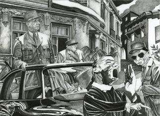 Geo Sipp: 'DeGaulle in Algiers', 2011 Other Printmaking, Military. Artist Description:  DeGaulle in Algiers is a drawing on drafting film, illustrating a scene from a graphic novel about the French- Algerian War, entitled Wolves in the City, which I am currently illustrating.         ...