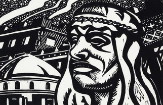 Geo Sipp: 'Evening in Algiers', 2008 Linoleum Cut, Islamic. Artist Description:  Evening in Algiers is a linocut, illustrating a scene from a graphic novel about the French- Algerian War, entitled Wolves in the City, which I am currently illustrating.                  ...