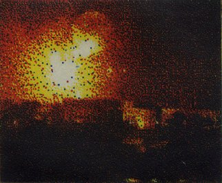 Geo Sipp: 'Explosion', 2008 Intaglio, War.  Explosion is a 4- plate color etching, illustrating a scene from a graphic novel about the French- Algerian War, entitled Wolves in the City, which I am currently illustrating.                   ...