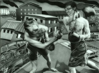 Geo Sipp: 'Fight Night in Algiers', 2012 Other Drawing, Sports.  Fight Night in Algiers is a drawing on grained glass, illustrating a scene from a graphic novel about the French- Algerian War, entitled Wolves in the City, which I am currently illustrating.     ...