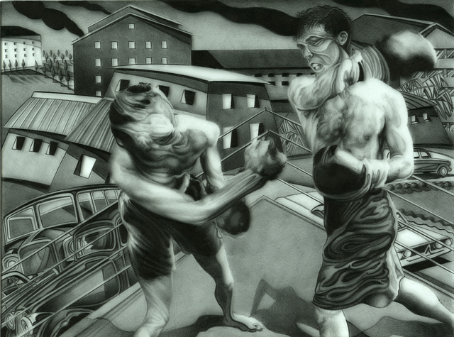 Geo Sipp  'Fight Night In Algiers', created in 2012, Original Printmaking Linoleum.