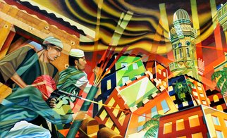 Geo Sipp: 'Firefight in the Casbah', 2014 Oil Painting, War.  Image depicts a firefight in the Casbah of Algiers.         ...