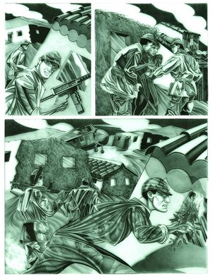 Geo Sipp Artwork 'Page 1', 2012. Other Drawing. Military. Artist Description: Page 1 is a drawing on grained glass, illustrating a scene from a graphic novel about the French- Algerian War, entitled Wolves in ......