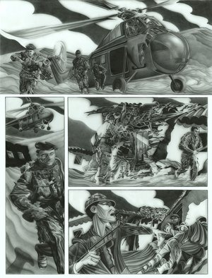 Geo Sipp: 'Page 2', 2012 Other Drawing, Military. Artist Description:   Page 2 is a drawing on grained glass, illustrating a scene from a graphic novel about the French- Algerian War, entitled Wolves in the City, which I am currently illustrating.             ...