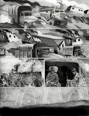 Geo Sipp: 'Page 8', 2014 Other Drawing, War. Artist Description:    Image depicts a firefight in Algeria           ...