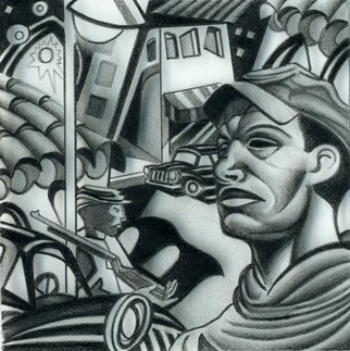 Geo Sipp: 'The Soldier', 2010 Other Drawing, Military. Artist Description:   The Soldier is a drawing on grained glass, illustrating a scene from a graphic novel about the French- Algerian War, entitled Wolves in the City, which I am currently illustrating.                 ...