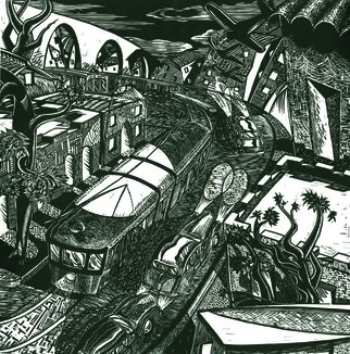 Geo Sipp: 'Trams in Algiers', 2012 Woodcut, World Conflict.  Trams in Algiers is a woodcut, illustrating an abstracted view of the city of Algiers during the French- Algerian War. The image is part of a graphic novel entitled Wolves in the City, which I am currently illustrating. ...
