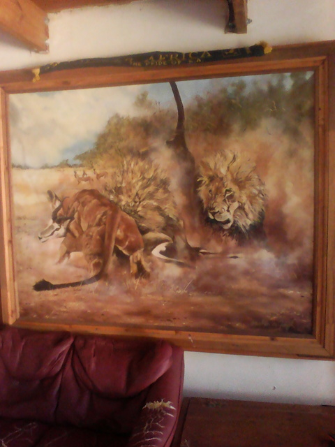 Gerald De Jongh  'Lion Kill', created in 1990, Original Painting Acrylic.